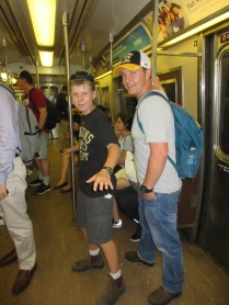 Surfing on the NYC Subway.