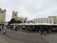Cambridge city market in the middle of town.