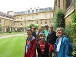 The gang in the courtyard of Cambridge University.