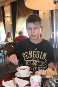 Isaac had three lumps of sugar with his tea ;)