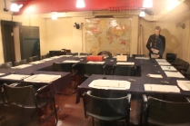 In the Churchill War Rooms...Churchill sat in the brown chair to direct the plans of attack.