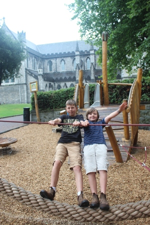 Playing at another park outside St. Patrick's Cathedral in Dublin.