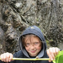 He found a snail...woot woot (one of his favourite things to do at home....).