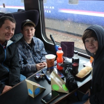 Having a picnic on the Jacobite train.