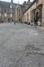 Inner courtyard: the outline in the stones is from the old chapel; where Mary Queen of Scots was coronated at 9 months old.