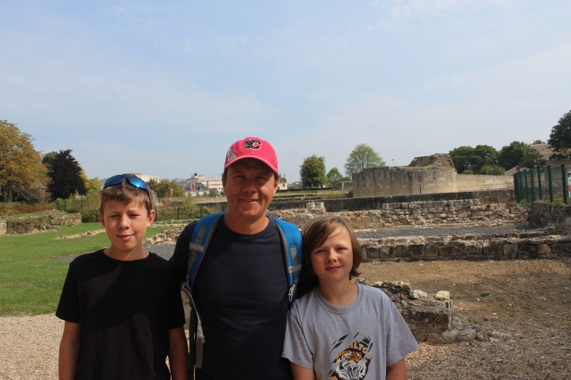 At Caen Castle in front of the ruins from William the Conqueror's Palace.