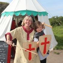 Dressing up at Corfe Castle, England.