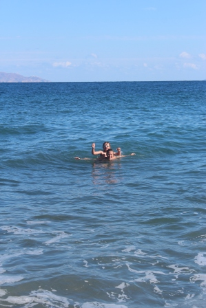 Good times swimming with the beach to ourselves ;)