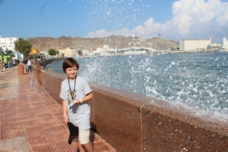 Jo enjoying the waterfront in Oman.