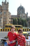 Outside the main train station in Mumbai, India.
