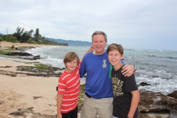 Having fun on the north shore with Papa.
